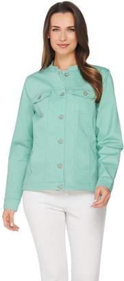 Denim & Co. Denim Jacket Mandarin Collar Hi-Low Hem