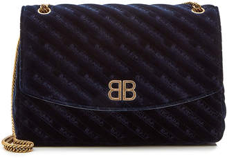 Balenciaga Chain Velvet Medium Shoulder Bag