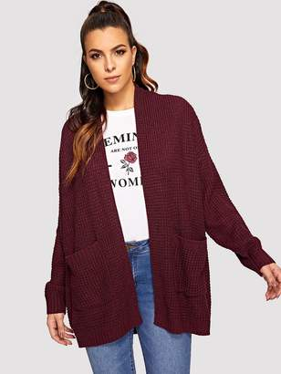 SheinShein Pocket Patched Waffle Knit Cardigan