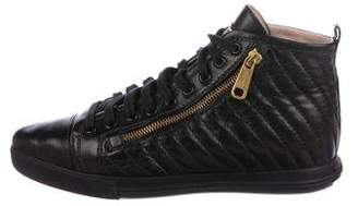 Miu Miu Quilted Pointed-Toe Sneakers
