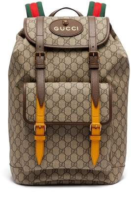 Gucci Gg Supreme Print Leather Trimmed Canvas Backpack - Mens - Brown Multi