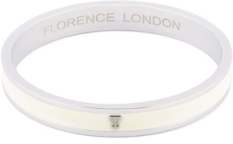 Florence London Initial T Bangle Silver Trim With White Enamel