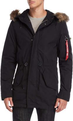 Alpha Industries J-4 Fishtail Faux Fur Hooded Coat