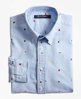 Brooks Brothers (ブルックス ブラザーズ) - BOYS コットン シグナルフラッグプリント ボタンダウンシャツ