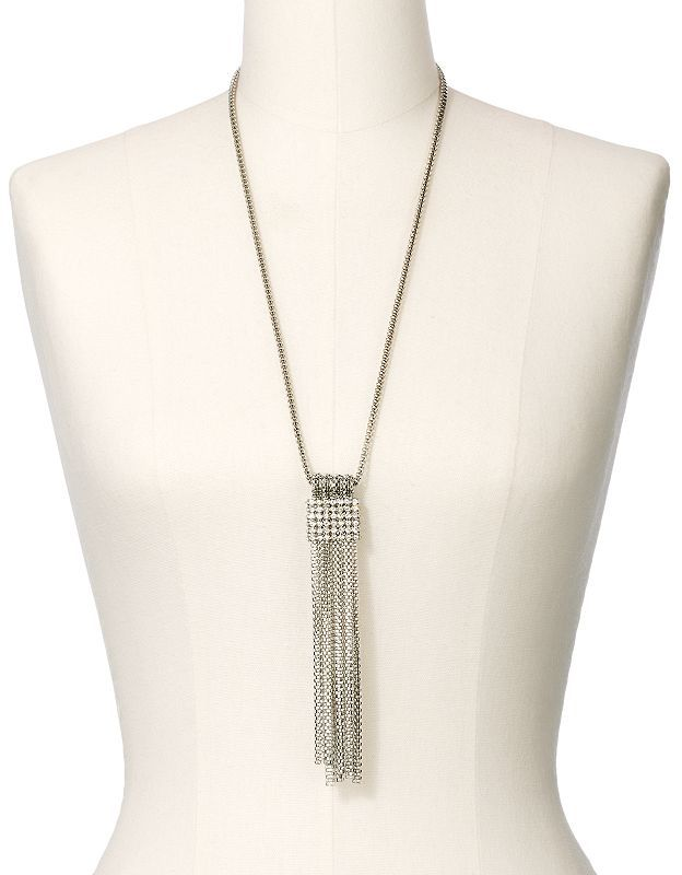 JLO by Jennifer Lopez silver tone simulated crystal mesh and fringe y necklace