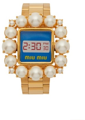 Miu Miu Faux Pearl Embellished Watch Bracelet - Womens - Gold