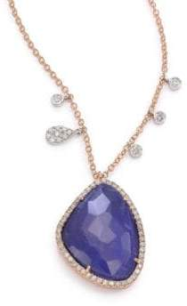 Meira T Sodalite, Diamond& 14K Rose Gold Pendant Necklace