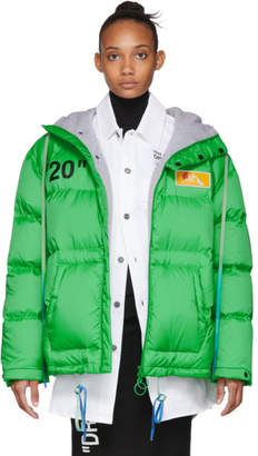 Off-White Off White Green Down Scaffolding Zipped Puffer Jacket