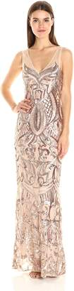Adrianna Papell Women's Sleeveless Sequin Beaded Gown