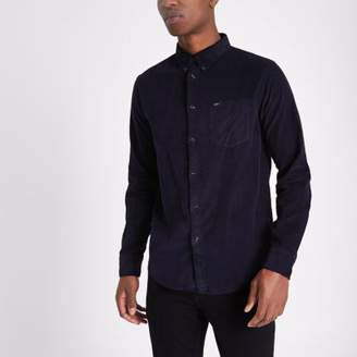 River Island Lee navy cord button-down Oxford shirt