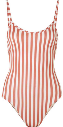 Haight Striped Swimsuit - Antique rose