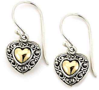 Samuel B Jewelry Sterling Silver & 18K Yellow Gold Filigree Heart Drop Earrings