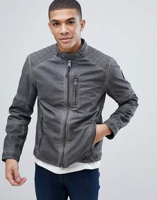 Tom Tailor Biker Jacket In Washed Cotton
