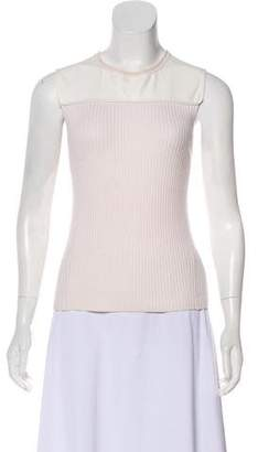 Reed Krakoff Cashmere Leather Accented Top