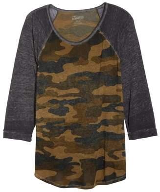 Lucky Brand Camouflage Varsity Long Sleeve Tee