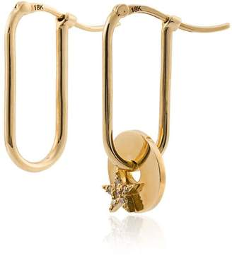 Foundrae 18k yellow gold small Fob Link Base star diamond disc earrings