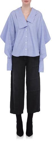 Burberry Burberry Sculptural-Sleeve Cotton Shirt, Light Blue