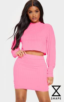 PrettyLittleThing Shape Neon Pink Ribbed High Neck Crop Top