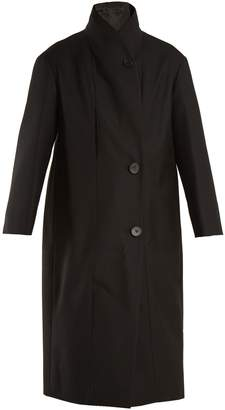 Lemaire High-neck single-breasted cotton-twill coat