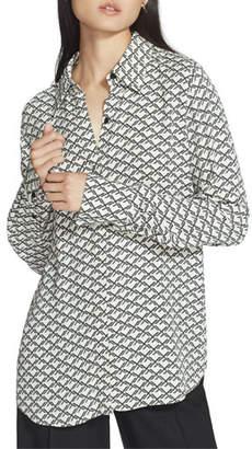 Lafayette 148 New York Julianne Minimalist Monogram Long-Sleeve Crepe Blouse