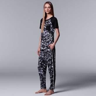 Vera Wang Women's Simply Vera Printed Tee & Pants Pajama Set