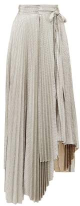 A.W.A.K.E. Mode Oyster Doric Knife Pleat Asymmetric Skirt - Womens - Silver