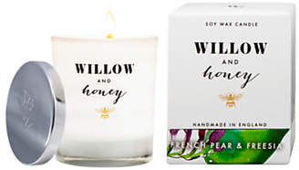 Freesia Willow and Honey French Pear and Candle, White, 220g