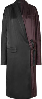 Haider Ackermann Two-tone Satin-crepe Wrap Dress - Black