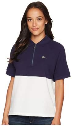 Lacoste Short Sleeve Supple Petit Pique Color Block Polo Women's Clothing