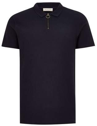 Topman Mens SELECTED HOMME Navy Organic Cotton Polo