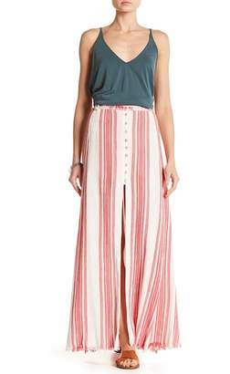 Z&L Europe Striped Button Front Maxi Skirt