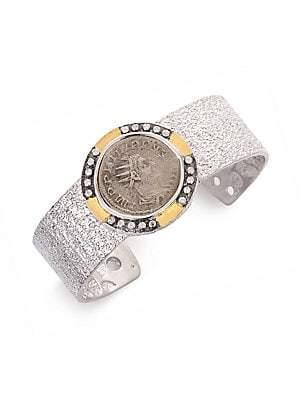 Coomi Silver Women's Coin Diamond, 20K Yellow Gold & Sterling Silver Cuff Bracelet