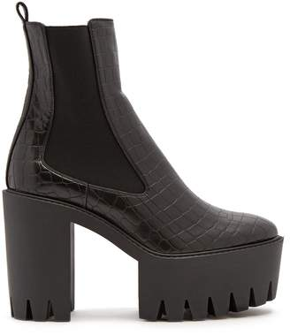 Stella McCartney Monster crocodile-effect faux-leather ankle boots