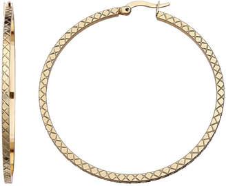 GOLD REFLECTION Diamond-Cut 2 Skinny Hoop Earrings