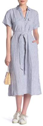 Frame Striped Short Sleeve Linen Shirtdress