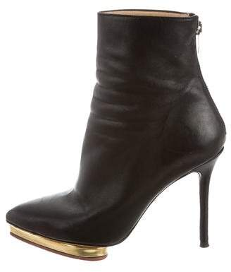 Charlotte Olympia Leather Pointed-Toe Ankle Boots