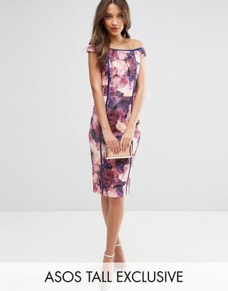 ASOS Tall ASOS TALL SALON Bardot Bodycon Dress in Mystical Floral Print $102 thestylecure.com
