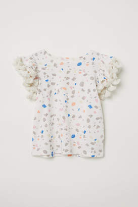 H&M Jersey Flounce-sleeved Top - Beige
