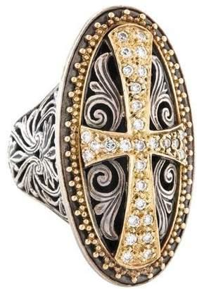 Konstantino Diamond Classics Large Oval Filigree Cross Ring