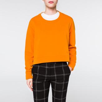 Women's Orange Organic Cotton Cropped Sweatshirt $195 thestylecure.com