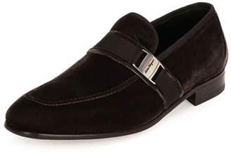 Salvatore Ferragamo Men's Velvet Formal Loafer, Gray