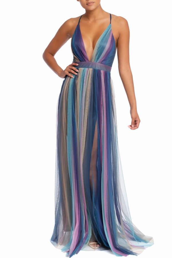 luxxel Rainbow Maxi Dress