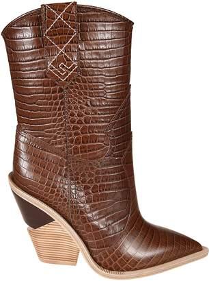 Fendi Crocodile-skinned Ankle Boots