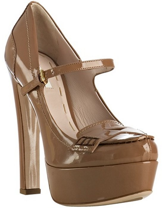 Miu camel patent mary-jane platform loafer pumps