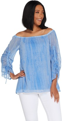 Halston H By H by Printed Chiffon Off-the- Shoulder Woven Blouse