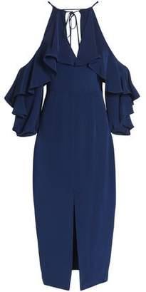 Cushnie et Ochs Cold-Shoulder Ruffled Silk Crepe De Chine Midi Dress