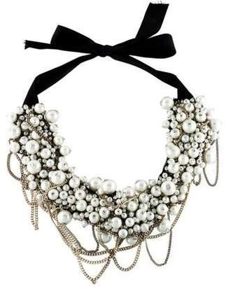 Oscar de la Renta Faux Pearl Ribbon Collar Necklace