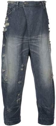 Julius asymmetric zip front jeans