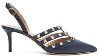 Valentino Rockstud Slingback Leather Pumps - Womens - Navy