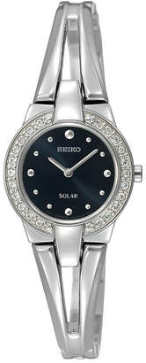 Seiko Solar Womens Crystal-Accent Bracelet Watch SUP205